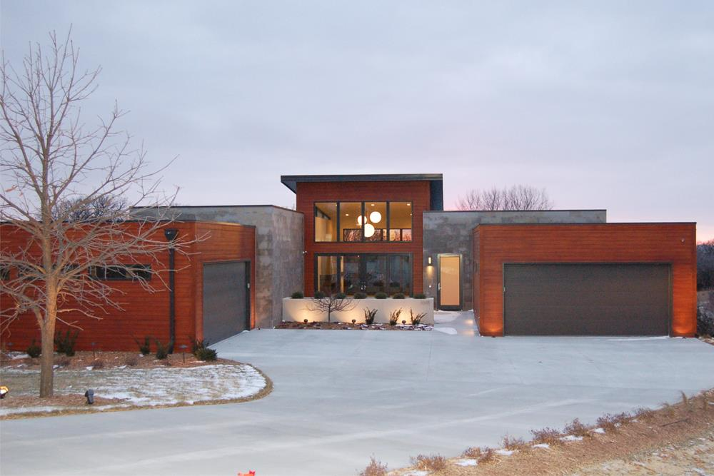 Modern style with large glass windows