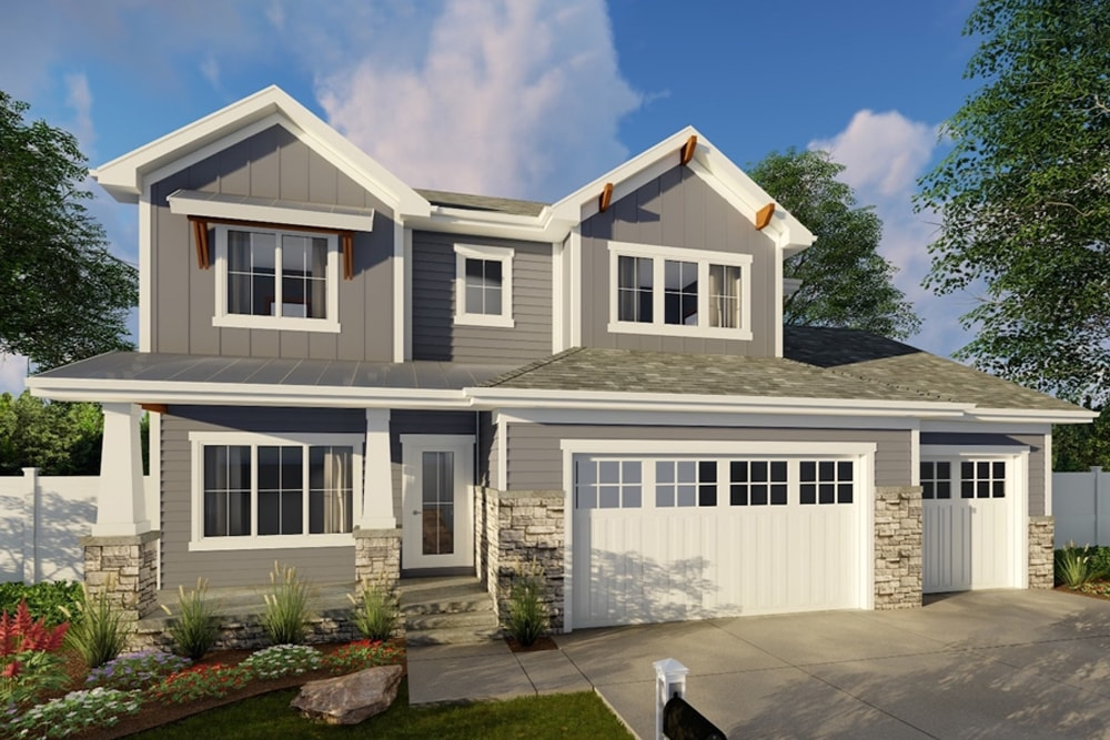 Craftsman style house plan #100-1358 with low-maintenance stone and fiber-cement siding