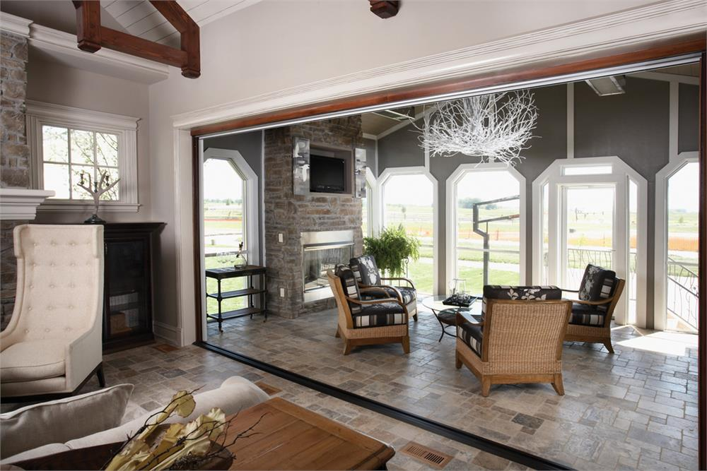 Open sliding-glass-door wall in Great Room of large home