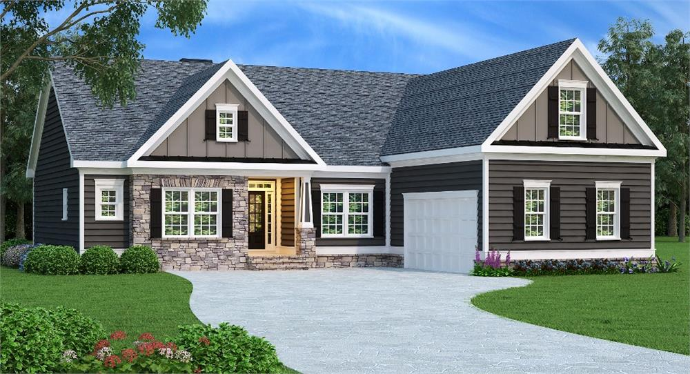 Photo-realistic rendering of House Plan #104-1014