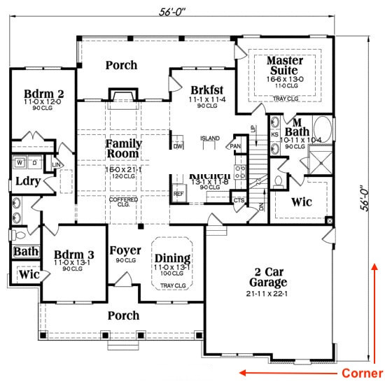 Floor plan for house plan #104-1064 showing corner location
