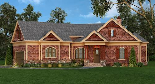 Transitional Craftsman home with natural cedar shingle siding and stone accents