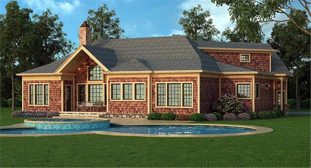 Backyard view of House Plan #106-1276 with built-in pool