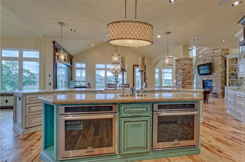 Spacious kitchen with two islands in a 4000-plus-sq.-ft. house
