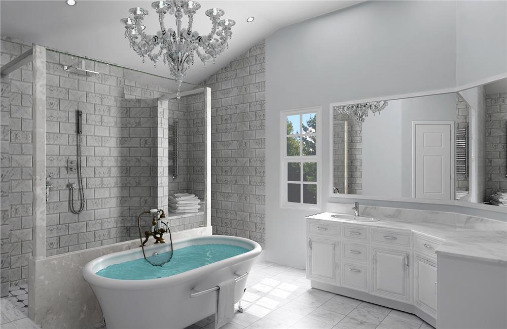 Two-vanity mater bathroom in House Plan #106-1315