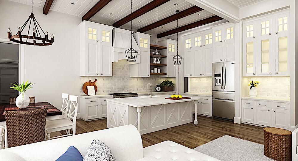 White kitchen with eating-bar island, tall wall cabinets, and exposed-timber-beam ceiling