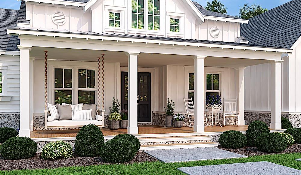 Covered front porch with square columns and room for outdoor furniture