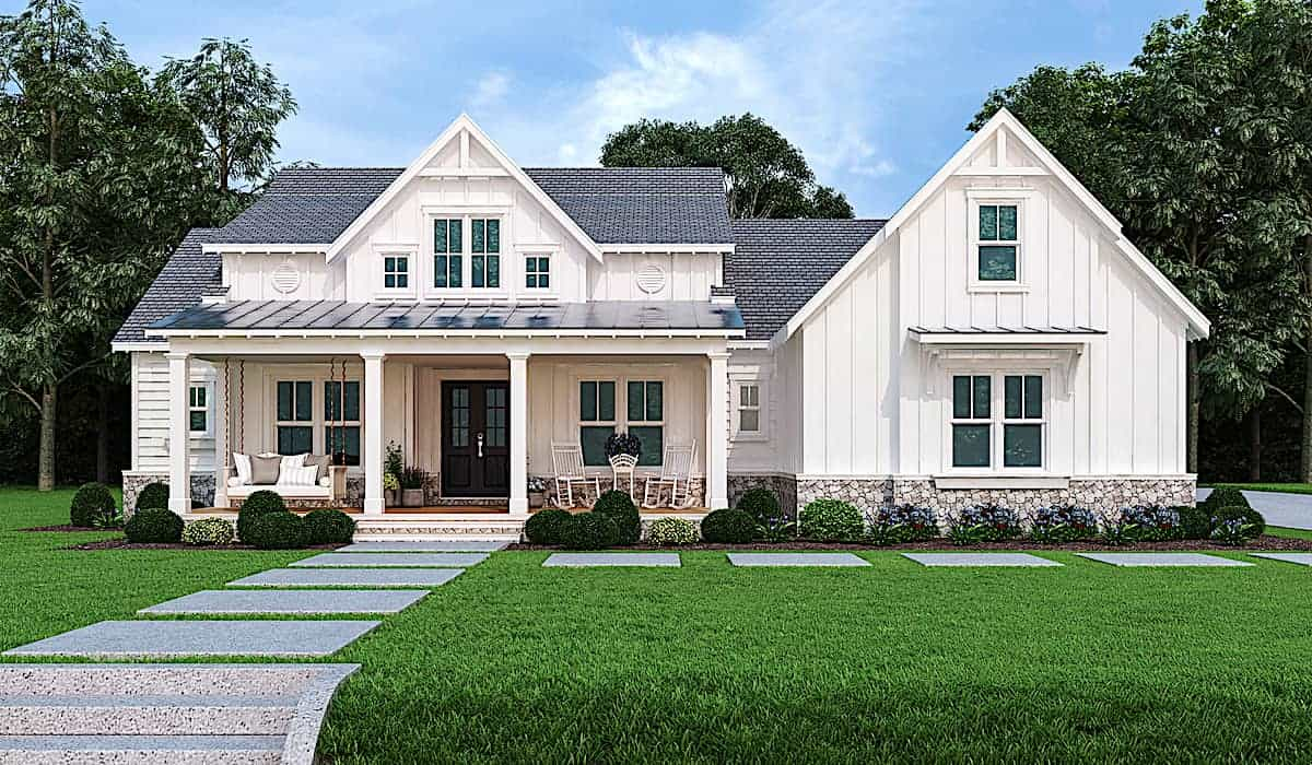 One-story contemporary Farmhouse style home with front porch