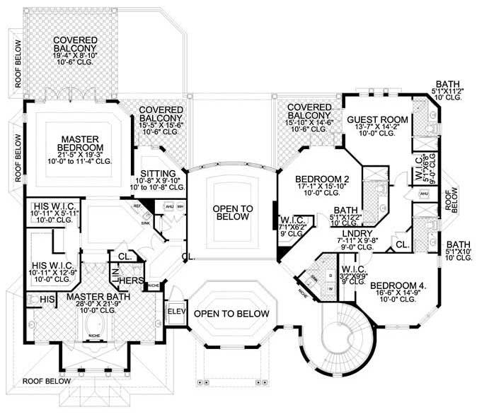 Upper level floor plan of large Mediterranean style home