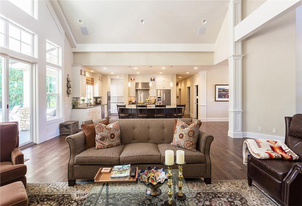 Great Room with furniture placement that allows ample space for movement in and out of the room
