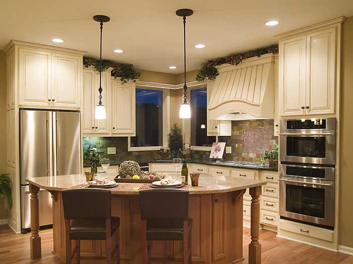 French country style kitchen with beautiful lighting
