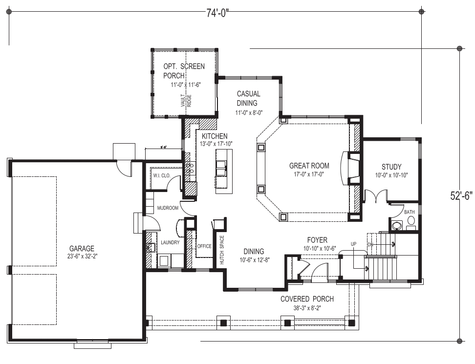 Main-floor plan of house plan #109-1191