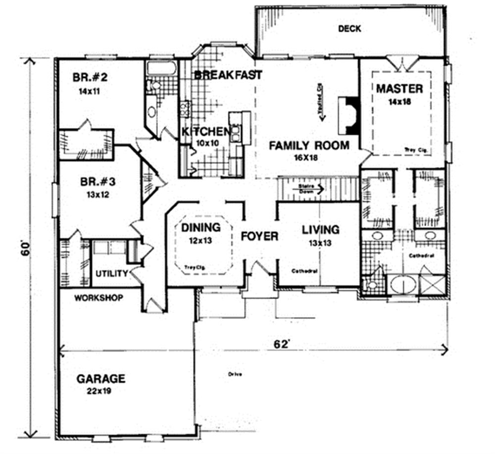 One level floor plan layout with vaulted living room, large family room and garage workshop.