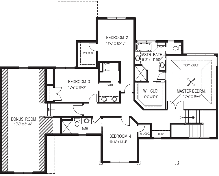 Upper floor plan of house plan #109-1191