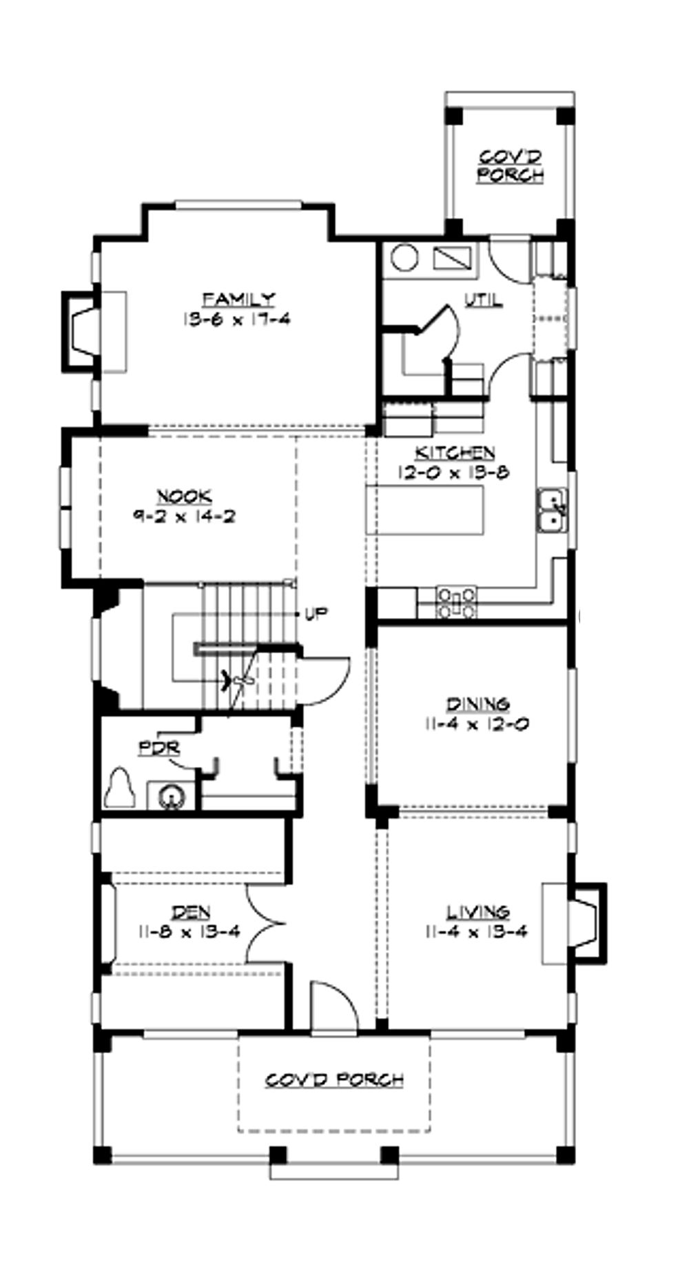 Main floor plan for narrow lot design.