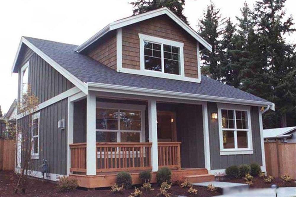 Narrow-lot house plan #115-1370 with cedar-shake and board-and-batten siding