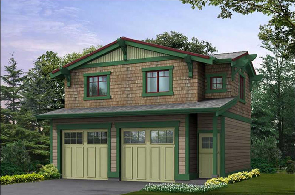 Tiny Bungalow over garage (House Plans #115-1407)