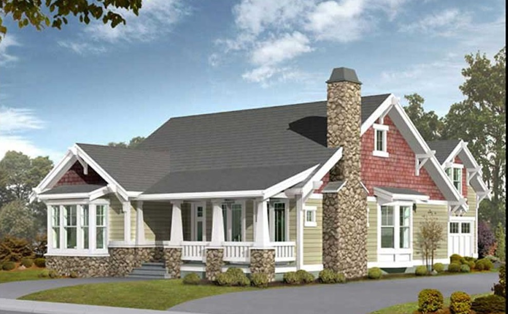 Craftsman style Farmhouse with stone chimney and accents