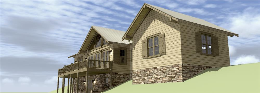 Side view of Country style house plan #116-1074 and garage on down site