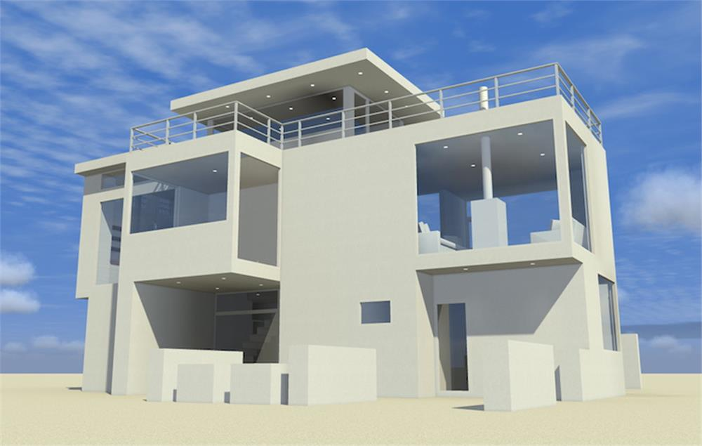 White Modern style beachfront home with 3 bedrooms and 2.5 baths