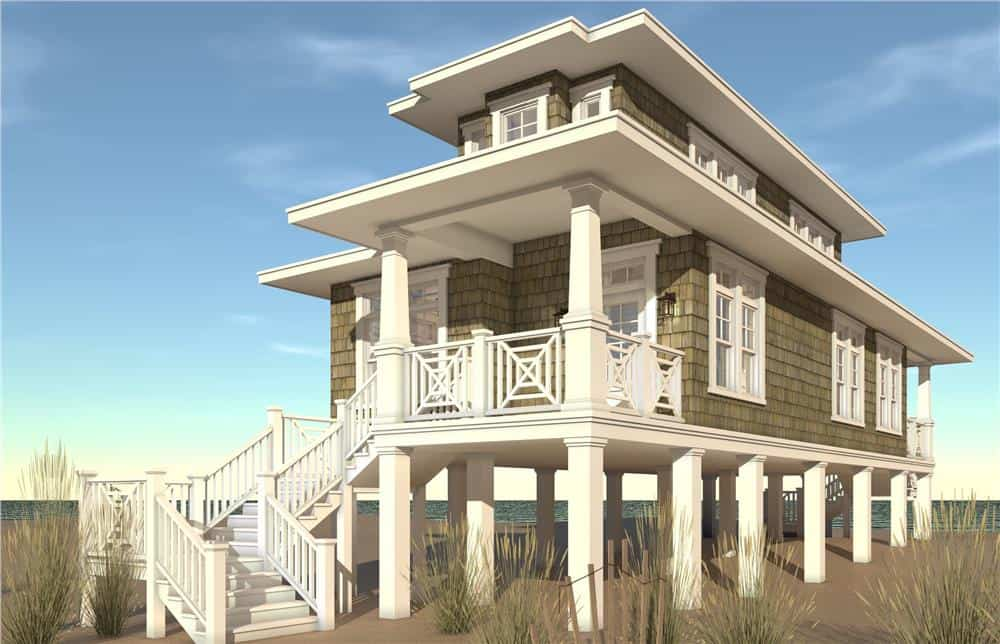 Beachfront home with raised foundation and multiple decks/lookouts