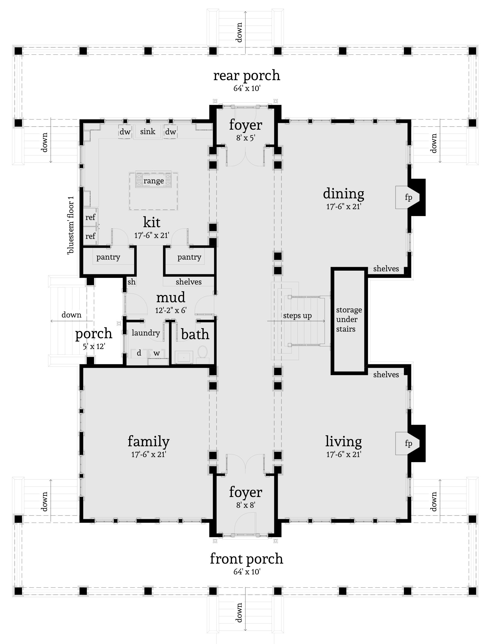 Main-level floor plan for house plan #116-1092