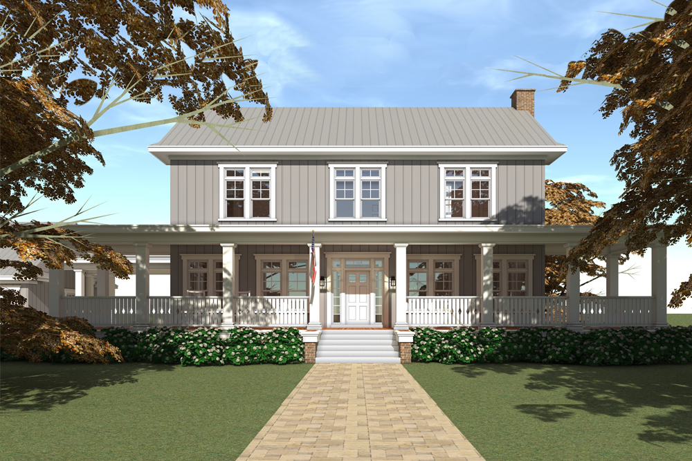 Colonial house plan #116-1092 with Farmhouse flair