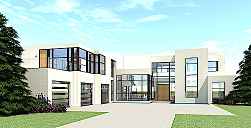 Modern home over 5000 square feet in glass, brick, and stucco