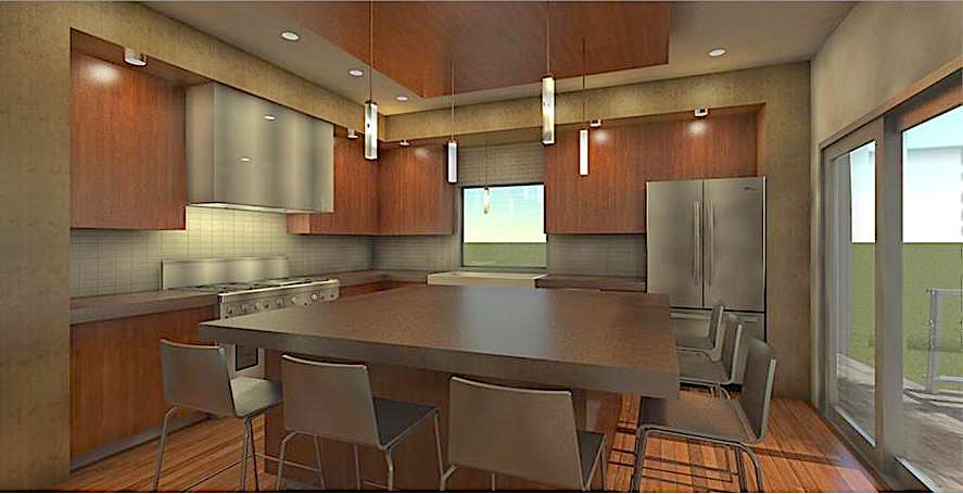 Modern eat-in kitchen with natural wood cabinets and cylindrical light pendants