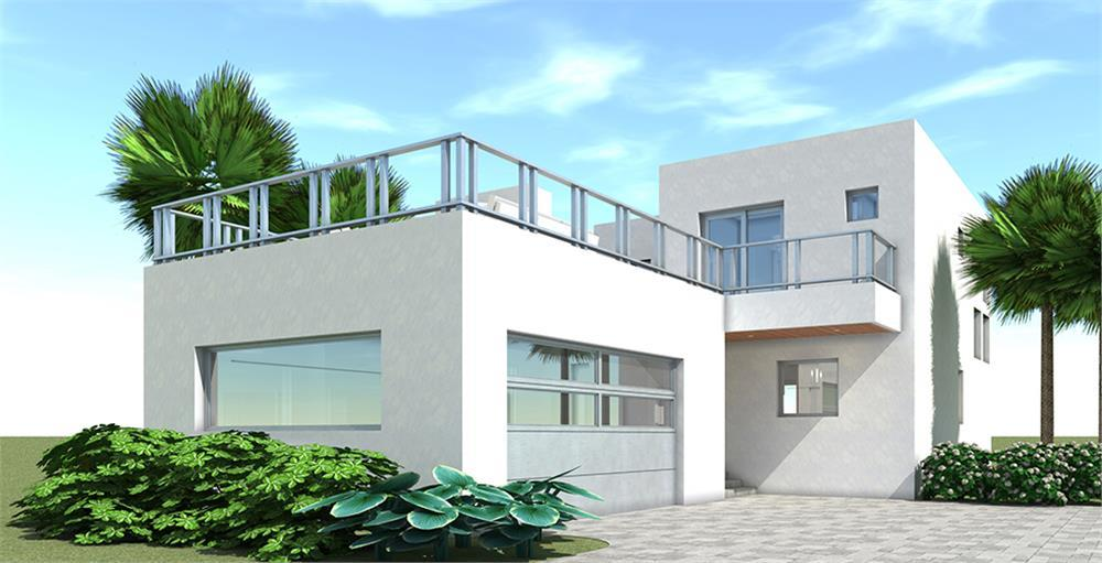 Modern style 2-bedroom home in white stucco