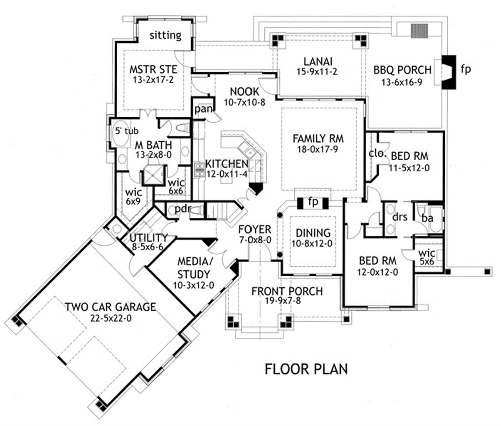Floor plan of rustic Texas style home that is laid out with minimal hallways
