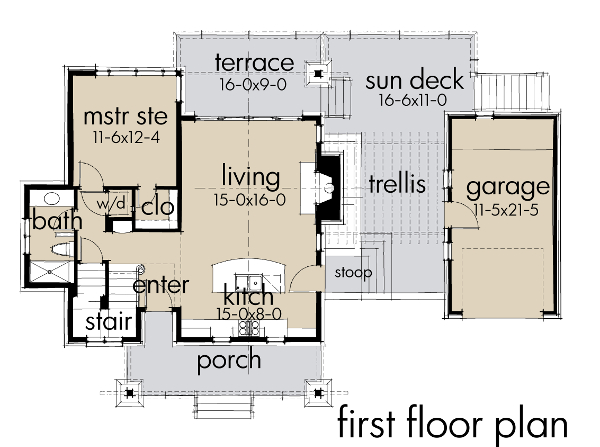 Main level floor plan for this contemporary cottage