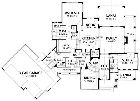 Floor plan for house plan #117-1117