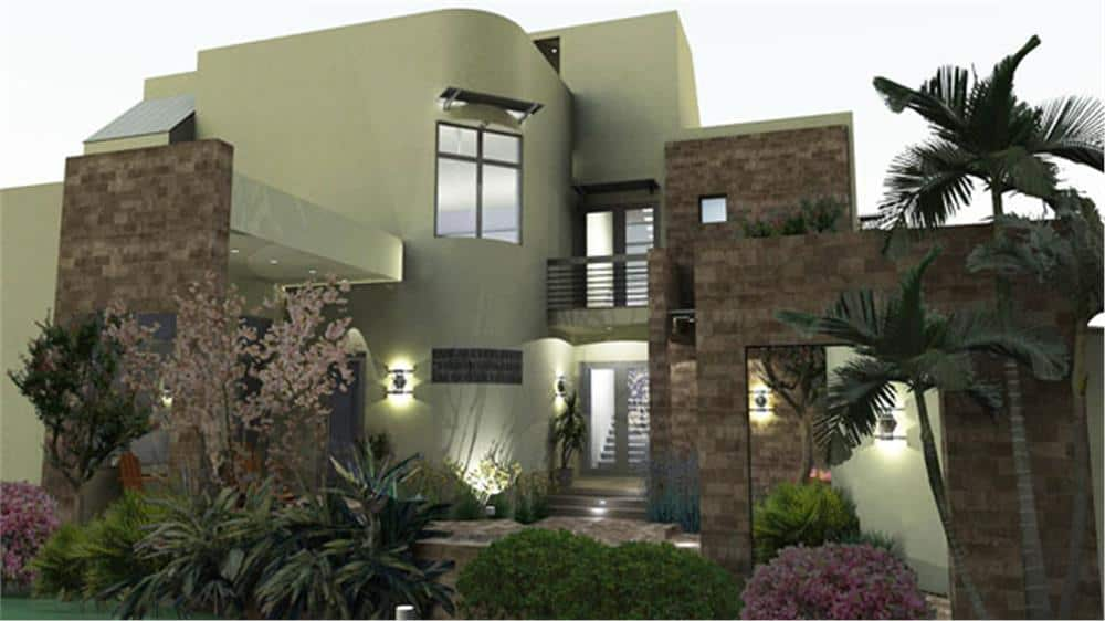 Modern style home with stucco exterior and stone block accents