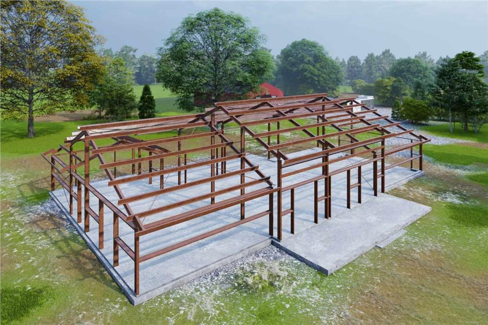 Steel frame for ranch style home on a concrete slab