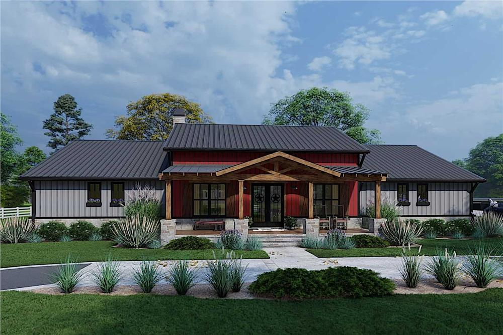 Texas Modern style home with 1-story layout and standing seam metal roof