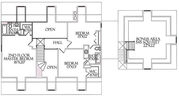 Second story layout with master and other bedrooms sharing a Jack and Jill bathroom.