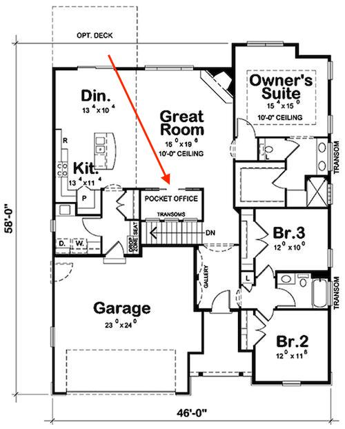 Main level floor plan of plan #120-2525 showing pocket office