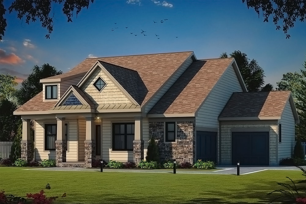 Country house plan #120-2560 with stone and vinyl siding