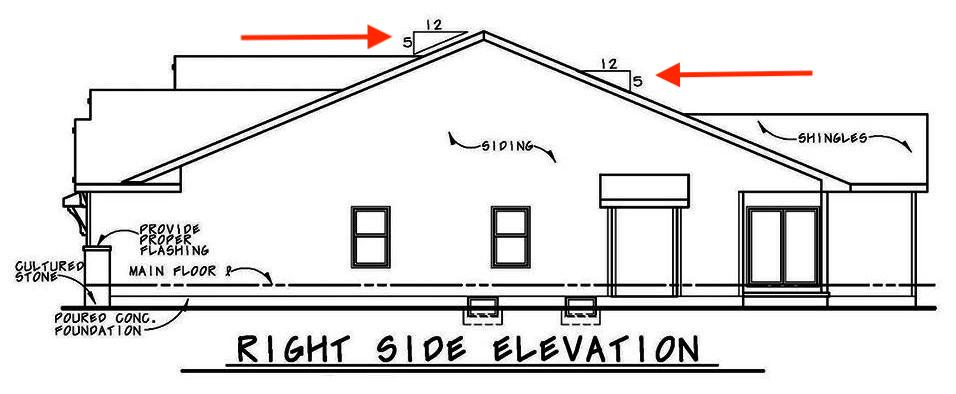 Right-side elevation drawing of single-story house plan #120-2562