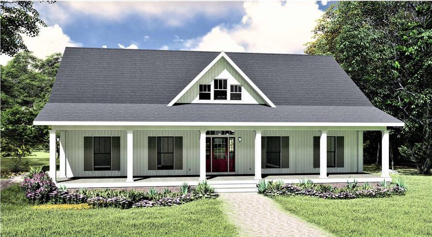 Farmhouse style home with wide covered front porch and white siding