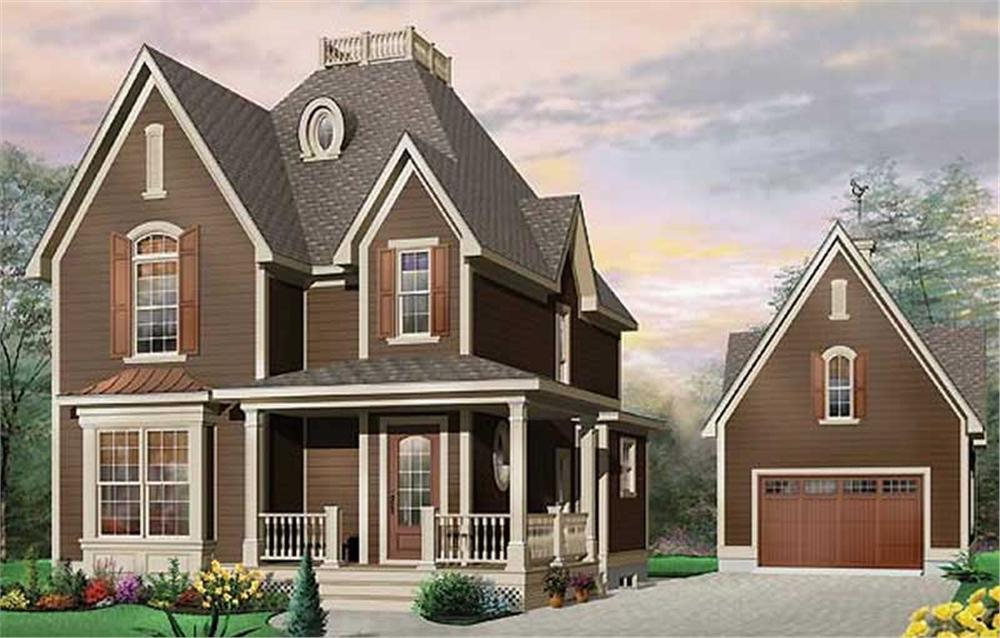 Farmhouse style home with front porch and elements of Carpenter Gothic