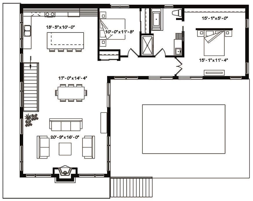 Main level floor plan of duplex House Plan #126-1834