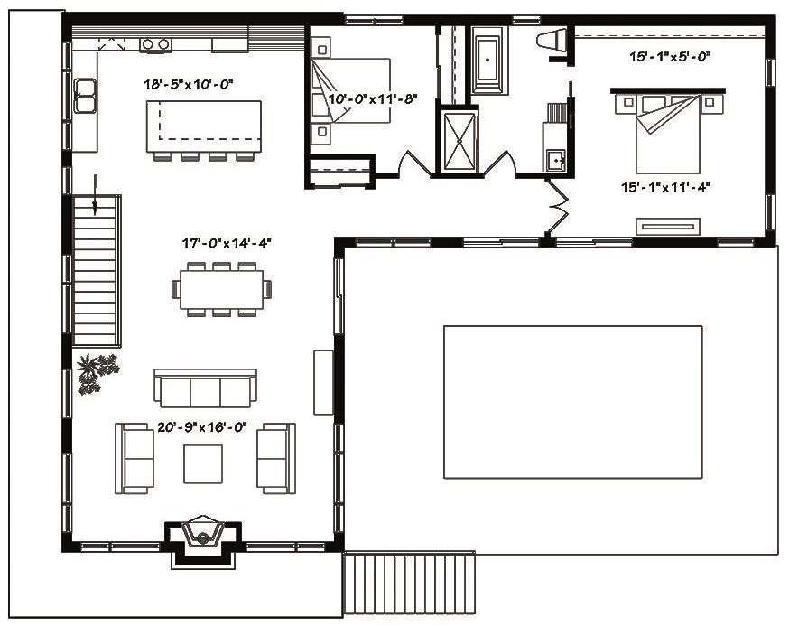 Main level floor plan of duplex House Plan #126-1834