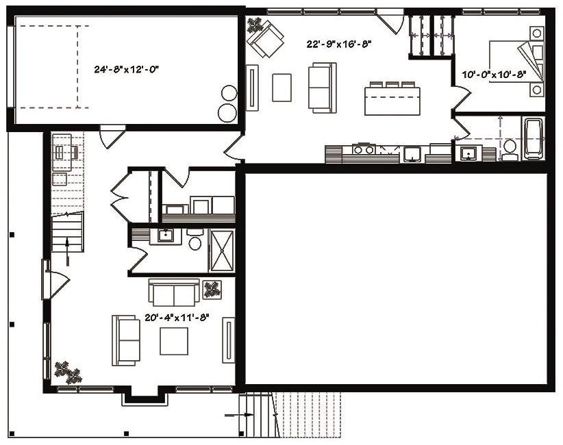 Lower level floor plan of duplex House Plan 126-1834