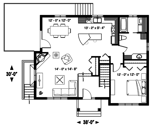 Main floor plan of cCountry style house plan #126-1895