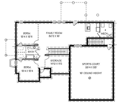 Floor plan of this country style house with indoor Sports Court