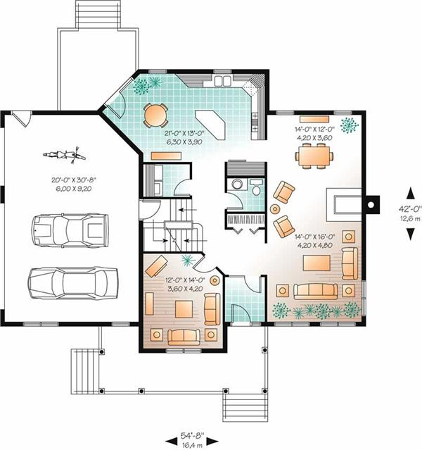 Farmhouse floor plan - main level 126-1769