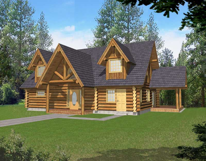 Log cabin with steep roof and side porch