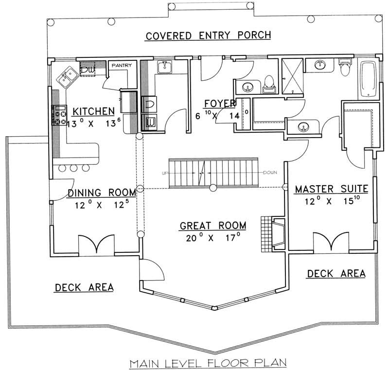 Main floor plan for Vacation style house plan 132-1313